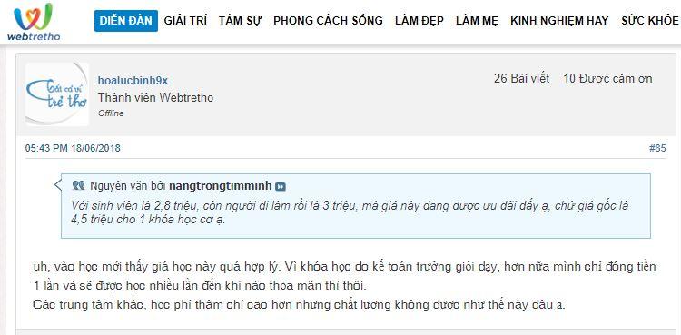 Phản hồi của học viên về học phí ở trung tâm Lê Ánh